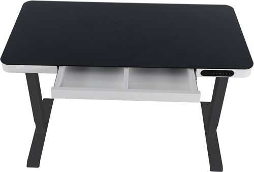 Elektrisch verstelbaar zit/sta bureau compact - Zwart - Wit - Zwart