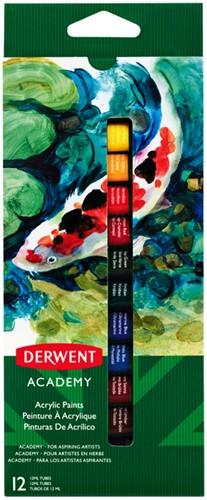 Acrylverf Derwent Academy blister à 12 tubes à 12ml assorti