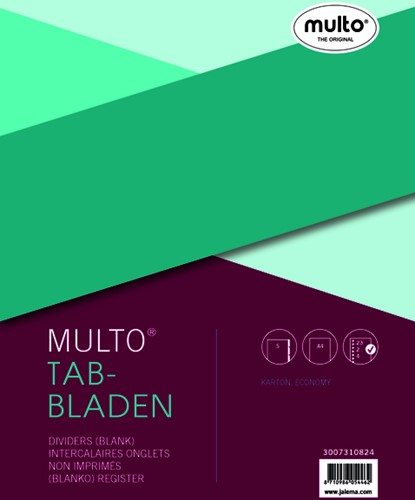 Tabbladen Multo economy A4 23-gaats 5-delig assorti