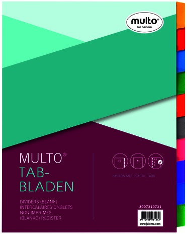 Tabbladen Multo A4 23-gaats 10-delig wit karton 220gr