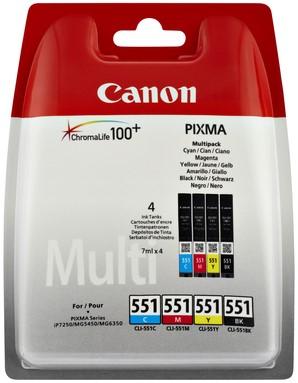 Inktcartridge Canon CLI-551 zwart + 3 kleuren