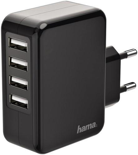Oplader Hama USB-A 4X 4.8A zwart