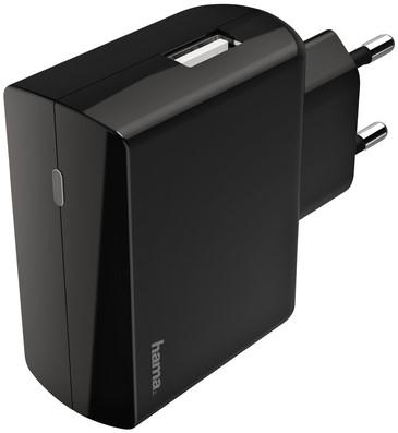 Oplader Hama USB-A 1X 2.4A zwart
