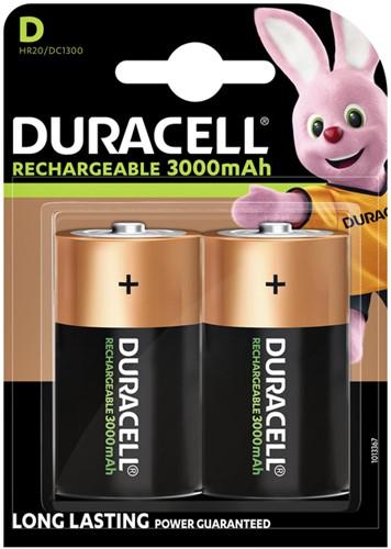 Batterij oplaadbaar Duracell 2xD 3000mAh Plus
