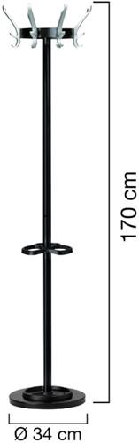 Kapstok staand Unilux Cypres zwart-2