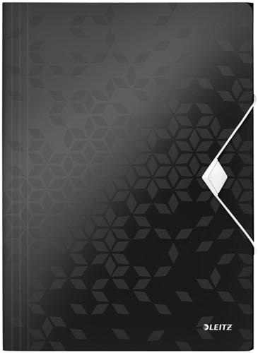 Elastomap Leitz WOW 3-kleps A4 PP zwart