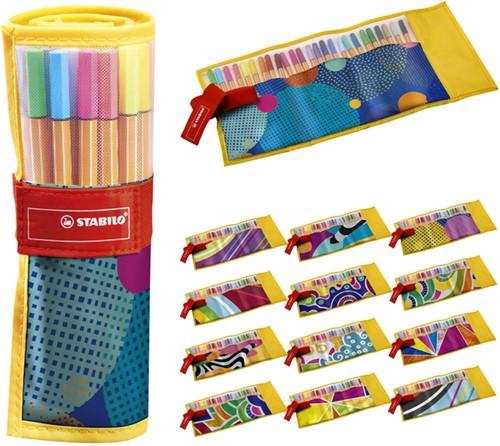 Fineliner Stabilo 88 Just like you edition roletui geel/dessin à 25 stuks assorti