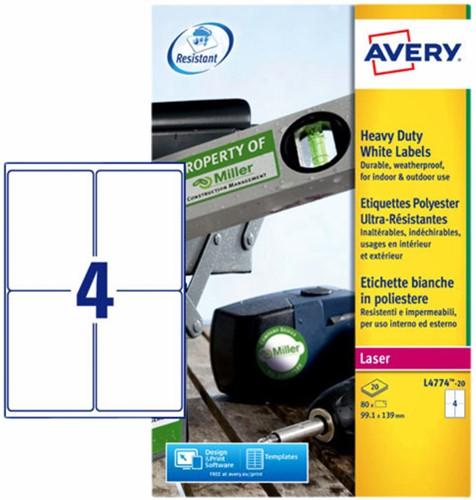 Etiket Avery L4774-20 99.1x139mm polyester wit 80stuks