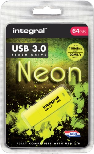 USB-stick 3.0 Integral 64GB neon geel