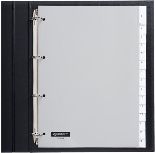 Tabbladen Quantore 4-gaats 15-delig met venster grijs PP