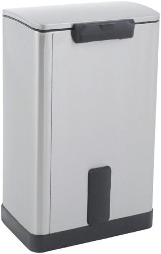Afvalbak pedaalemmer E-Cube RVS mat rechthoekig 40liter-1