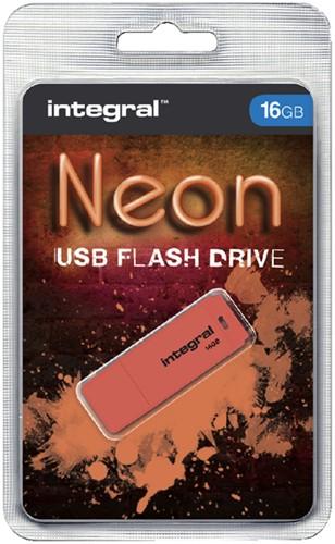 USB-stick 2.0 Integral 16Gb neon oranje