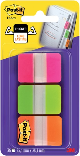 Indextabs 3M Post-it 686 25.4x38mm strong assorti