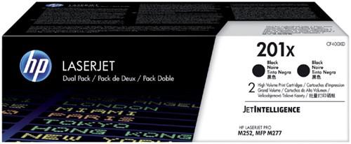 Tonercartridge HP CF400XD 201X zwart 2x HC