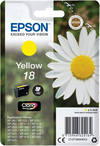 Inkcartridge Epson 18 T1804 geel