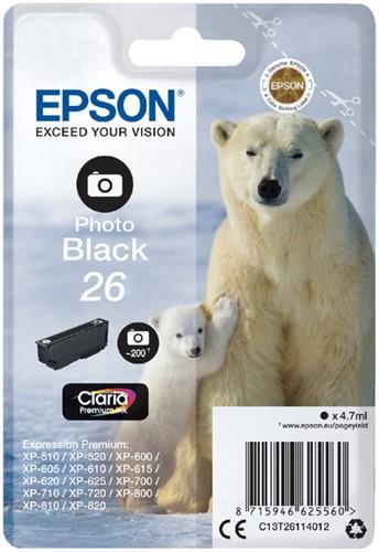 Inktcartridge Epson 26 T2611 foto zwart