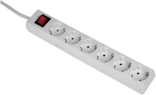 Tafelcontactdoos 6voudig beveiligd 500cm wit-2