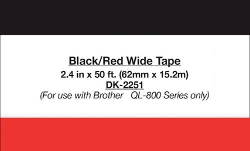 Etiket Brother DK-22251 62mm 15-meter zwart/rood-3