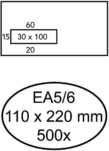 Envelop Quantore 110x220mm venster 3x10cm links 500stuks