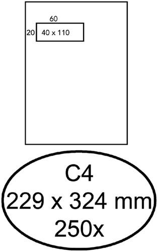 Envelop Hermes akte C4 229x324mm venster 4x11links zelfkl 250stuk