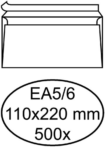 Envelop Hermes bank EA5/6 110x220mm zelfklevend met strip wit