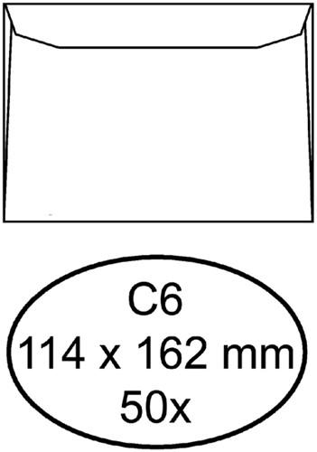 Envelop Hermes bank C6 114x162mm zelfklevend met strip wit