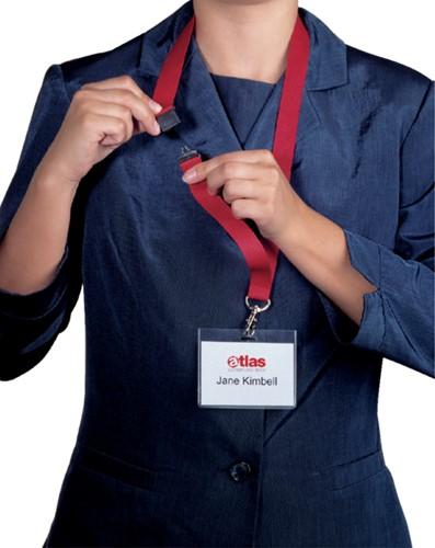 Textielkoord Durable 8137 met karabijnhaak rood-2