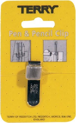 Terry Clip tbv 1 pennen/potlood zilverkleurig