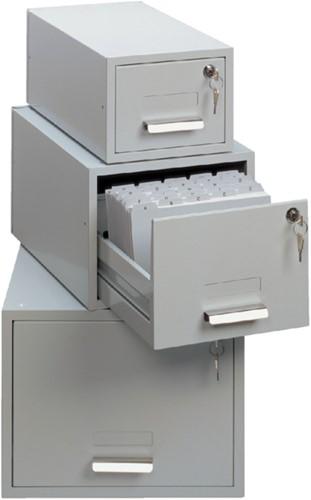 Kaartenbak Durable metaal 170x235mm lichtgrijs 3355-10
