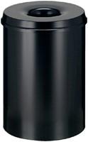 Papierbak met vlamdover Vepabins 30liter 33.5cm zwart-3