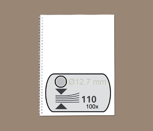 Draadrug GBC 12.7mm 34-rings A4 zilver 100stuks