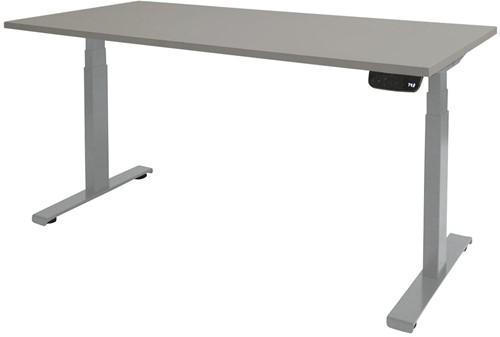 Elektrisch verstelbaar zit/sta bureau - 140x80 - Lichtgrijs - Aluminium