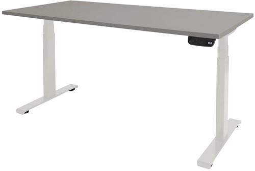 Elektrisch verstelbaar zit/sta bureau - 140x80 - Lichtgrijs - Wit