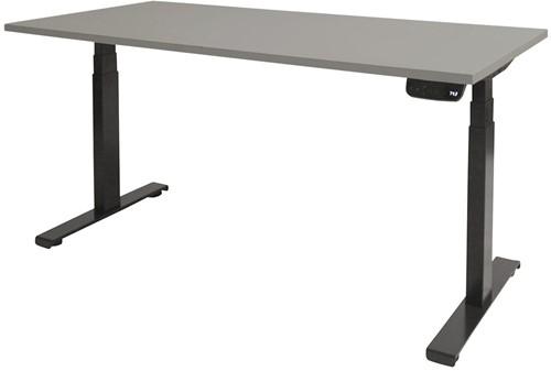 Elektrisch verstelbaar zit/sta bureau - 140x80 - Lichtgrijs - Zwart