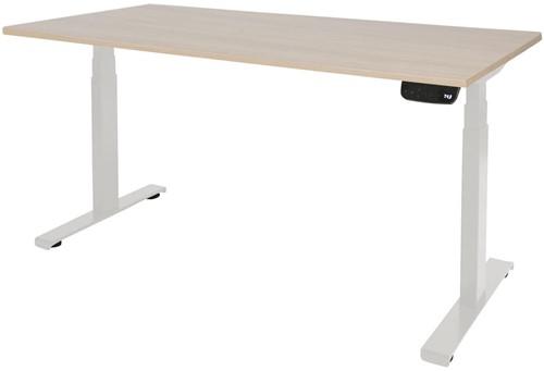 Elektrisch verstelbaar zit/sta bureau - 140x80 - Lindberg eiken - Wit