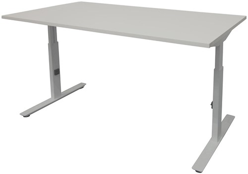 Bureau hoogte instelbaar - 140x80 - Lichtgrijs - Aluminium