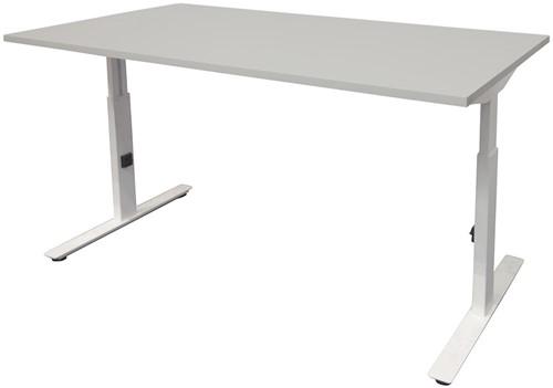 Bureau hoogte instelbaar - 140x80 - Lichtgrijs - Wit