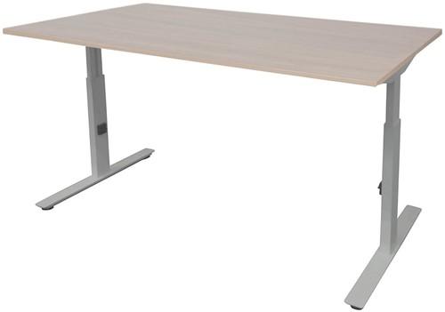 Bureau hoogte instelbaar - 140x80 - Lindberg eiken - Aluminium