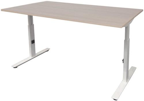 Bureau hoogte instelbaar - 140x80 - Lindberg eiken - Wit