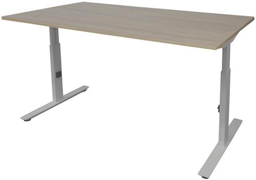 Bureau hoogte instelbaar - 140x80 - Robson eiken - Aluminium