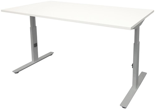 Bureau hoogte instelbaar - 140x80 - Krijtwit - Aluminium
