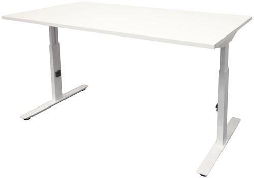 Bureau hoogte instelbaar - 140x80 - Krijtwit - Wit