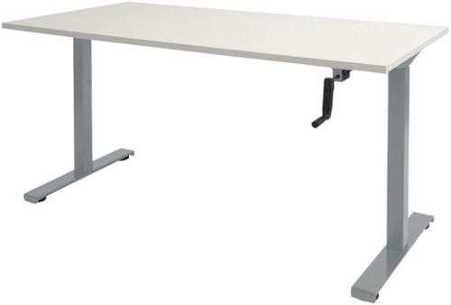 Bureau slinger verstelbaar (zit/sta) - 140x80 - Krijtwit - Aluminium