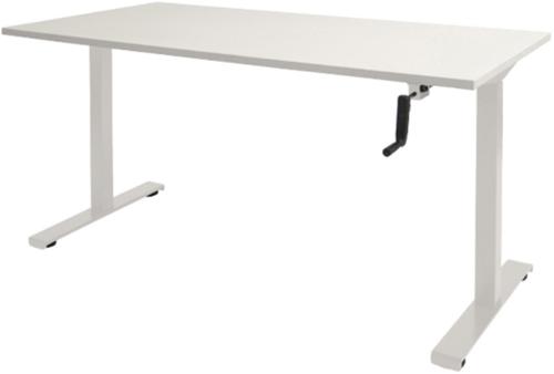 Bureau slinger verstelbaar (zit/sta) - 140x80 - Krijtwit - Wit