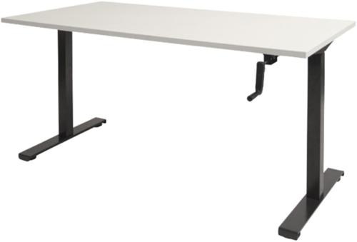 Bureau slinger verstelbaar (zit/sta) - 140x80 - Krijtwit - Zwart