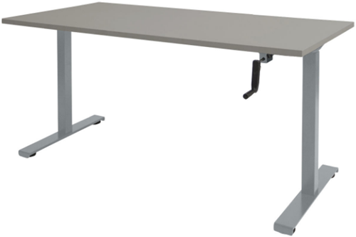 Bureau slinger verstelbaar (zit/sta) - 140x80 - Lichtgrijs - Aluminium