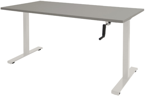 Bureau slinger verstelbaar (zit/sta) - 140x80 - Lichtgrijs - Wit