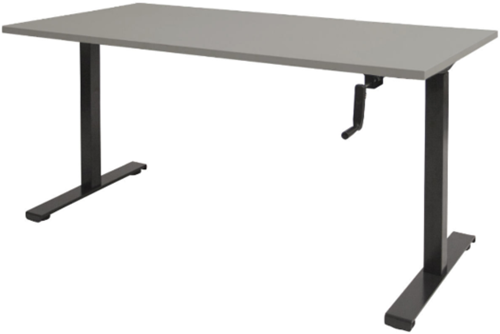 Bureau slinger verstelbaar (zit/sta) - 140x80 - Lichtgrijs - Zwart