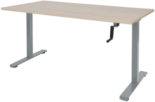 Bureau slinger verstelbaar (zit/sta) - 120x80 - Lindberg eiken - Aluminium