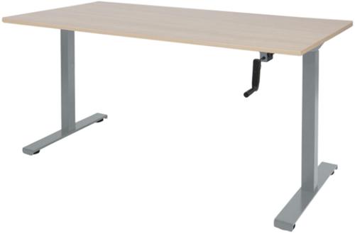 Bureau slinger verstelbaar (zit/sta) - 140x80 - Lindberg eiken - Aluminium